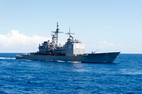 150922-N-SX983-052 ATLANTIC OCEAN (Sept. 22, 2015) Guided-missile cruiser USS Anzio (CG 68) is underway participating in Composite Training Unit Exercise (COMPTUEX) with the Harry S. Truman Carrier Strike Group. (U.S. Navy photo by Mass Communication Specialist Seaman L. E. Skelton/Released)