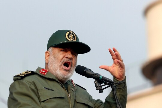 In this Nov. 25, 2019, file photo, Chief of Iran's Revolutionary Guard Gen. Hossein Salami speaks at a pro-government rally, in Tehran, Iran. (Ebrahim Noroozi/AP)