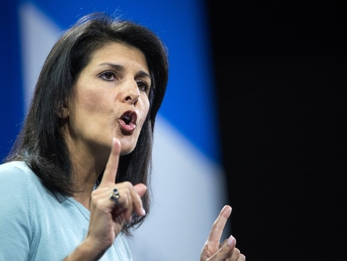 In this Jan. 9, 2016 file photo, then-South Carolina Gov. Nikki Haley, now the U.S. ambassador to the U.N., speaks to the crowd at the Kemp Forum in Columbia, S.C. (Sean Rayford/AP)