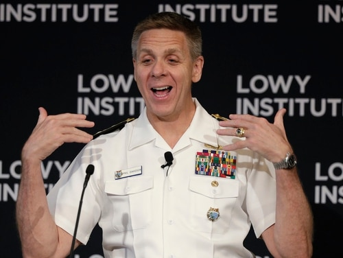 Adm. Philip S. Davidson, commander of the U.S. Indo-Pacific Command, speaks at the Lowy Institute in Sydney, Thursday, Feb. 13, 2020. (Rick Rycroft/AP)