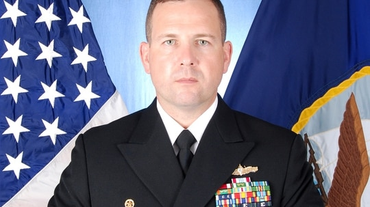 Cmdr. Bryce Benson was in charge of the Fitzgerald when it collided with a merchant vessel last June, killing seven sailors. (Navy)