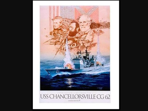 An image on the official command page for the warship Chancellorsville, a ship named after a Confederate victory in the Civil War. (Navy)