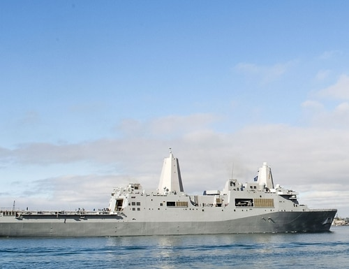 At least a dozen sailors and Marines have tested positive for COVID-19 aboard the amphibious transport dock San Diego in recent days, according to the Navy. (Navy)