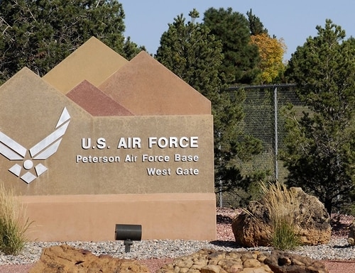 Peterson Air Force Base west gate entrance. (Air Force photo)