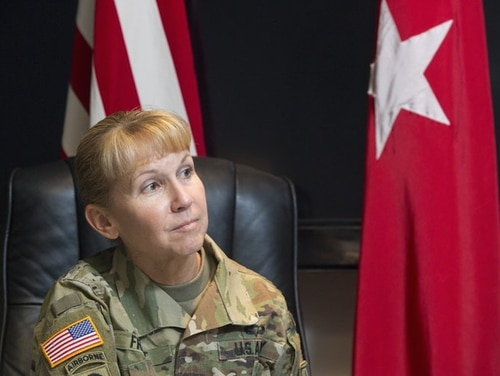 Maj. Gen. Patricia Frost leads the Army Cyber Directorate, which stood up last year to integrate cyber, electronic warfare and information operations. (Alan Lessig/Staff)