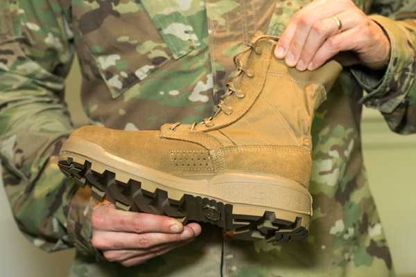 The new Army Jungle Combat Boot shown at a media round-table at Fort Belvoir in Springfield, Va., on Tuesday, February 28, 2017. (Alan Lessig/Staff)