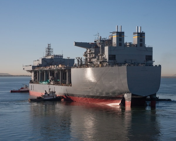 The mobile landing platform Lewis B. Puller is one such afloat forward staging base built by General Dynamics National Steel and Shipbuilding Co. (NASSCO)