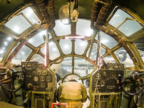The view from the cockpit of the B-29 Superfortress, nicknamed