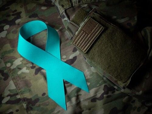 The teal ribbon is a national symbol of support for victims of sexual assault, and is used by the Army's Sexual Harassment/Assault Response and Prevention (SHARP) Program, and its Air Force counterpart, the Sexual Assault and Prevention Response (SAPR) Program. (Staff Sgt. Don Hudson/Air Force photo illustration )