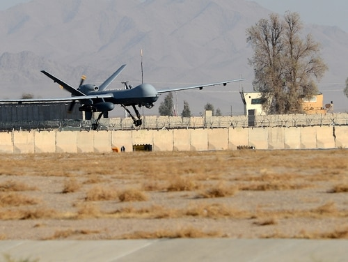 An MQ-9 Reaper lands on the runway Nov. 27, 2017, at Kandahar Airfield, Afghanistan. (Staff Sgt. Divine Cox/Air Force)