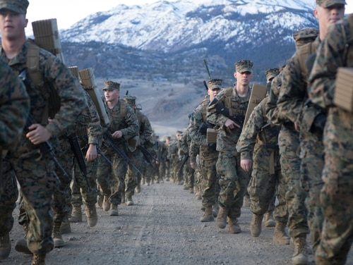 U.S. Marines with Golf Company, 2nd Battalion, 6th Marine Regiment, conduct a conditioning hike during a Winter Training Exercise at Marine Corps Mountain Warfare Training Center (MCMWTC), Bridgeport, Calif., Jan. 18, 2015. (Cpl. Jalen D. Phillips/ Marine Corps)