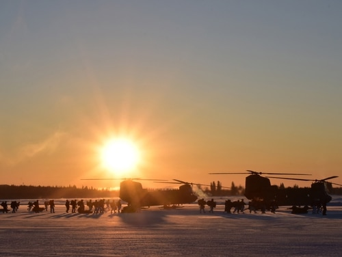 Soldiers board CH-47 Chinooks during training in Alaska. (John Pennell/U.S. Army)