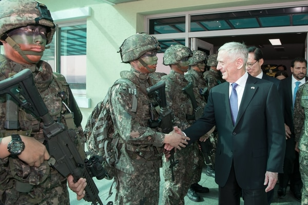 Defense Secretary Jim Mattis and South Korean Minister of Defence Song Young-moo visit the Demilitarized Zone between North and South Korea during a visit to the Joint Security Area in South Korea, Oct. 27. (Sgt. Amber I. Smith/Army)