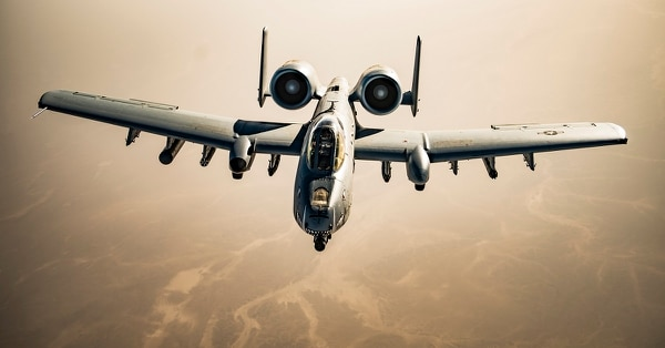 A U.S. Air Force A-10 Thunderbolt II pilot flies over Afghanistan after completing aerial refueling operations in support of Operation Freedom's Sentinel, March 12, 2018. (Tech. Sgt. Gregory Brook/ Air Force)