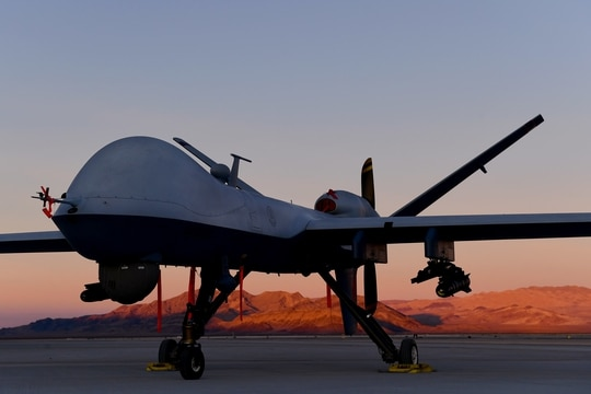 An MQ-9 Reaper sits on the flight line at Creech Air Force Base, Nevada, in December 2019. (Senior Airman Haley Stevens/Air Force)