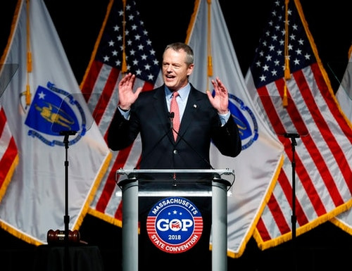 Massachusetts Gov. Charlie Baker addresses the Massachusetts Republican Convention at the DCU Center in Worcester, Mass., on April 28, 2018. (Winslow Townson/AP)