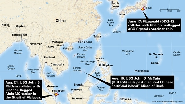 US Navy destroyer USS John McCain collides with Liberian-flagged tanker Alnic MC in the Strait of Malacca Aug, 21. Two months prior, destroyer Fitzgerald (DDG-62) collided with Philippine-flagged container ship ACX Crystal off the coast of Japan.