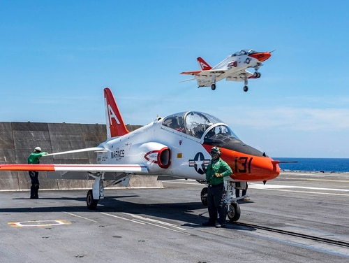 T-45C Goshawks assigned to Training Air Wing 1 prepares train new Naval Aviators in carrier operations. A new career path will allow select officers to finish their careers teaching the next generation of aviators. (MC2 Joseph E. Montemarano/Navy)