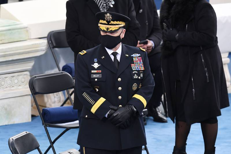 Chairman of the Joint Chiefs of Staff Gen. Mark Milley arrives for the inauguration of Joe Biden as the 46th president on Jan. 20, 2021, at the Capitol in Washington.