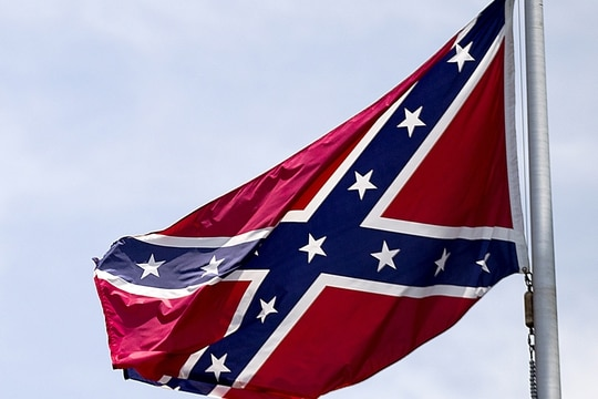 A Confederate flag flies at the base of Stone Mountain in Stone Mountain, Ga. (David Goldman/AP)