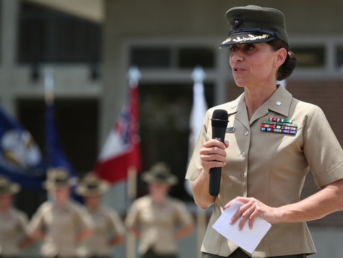 Lt. Col. Kate Germano, battalion commander, 4th Recruit Training Battalion, Recruit Training Regiment, Marine Corps Recruit Depot Parris Island, addresses the audience during the 4th Battalion relief and appointment ceremony aboard Marine Corps Recruit Depot Parris Island, South Carolina, July 18, 2014. (Lance Cpl. Allison Lotz/Marine Corps)