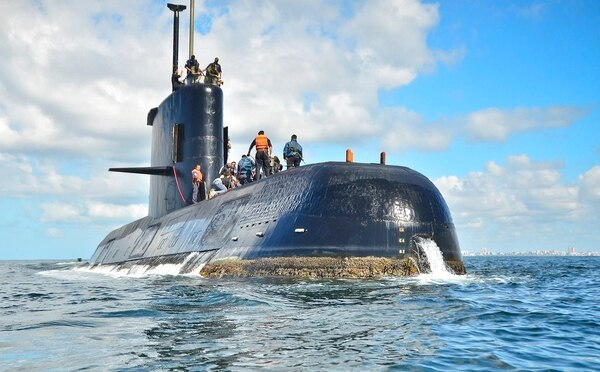ARA San Juan, a German-built diesel-electric vessel, near Buenos Aires, Argentina. Argentina's navy announced early Saturday that searchers found the missing submarine ARA San Juan deep in the Atlantic a year after it disappeared with 44 crewmen aboard. (Argentina Navy via AP File)