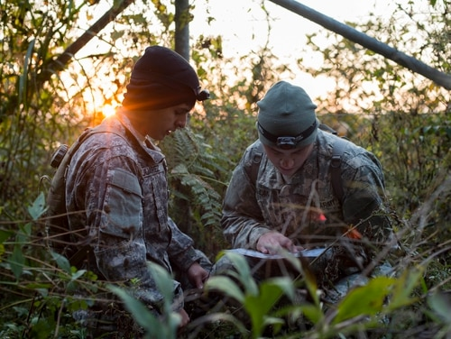 Soldiers negotiate a land navigation course. A soldier who went missing during a land nav course at Fort Carson on Monday has been found, post officials said Wednesday. (Senior Airman Brittany A. Chase/Air Force)
