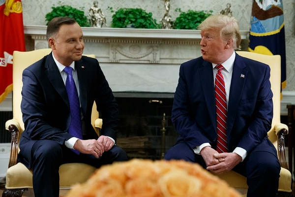 President Donald Trump meets with Polish President Andrzej Duda in the Oval Office of the White House, Wednesday, June 12, 2019, in Washington. (Evan Vucci/AP)