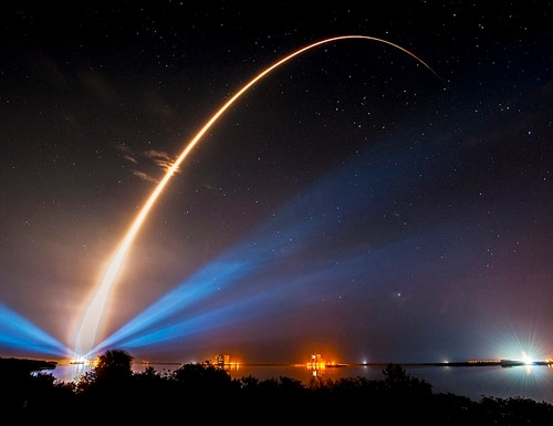 An Atlas V rocket carries the U.S. Navy's Mobile User Objective System, a tactical satellite system to improve ground communications for U.S. forces on the move. (Courtesy of United Launch Alliance via U.S. Navy)