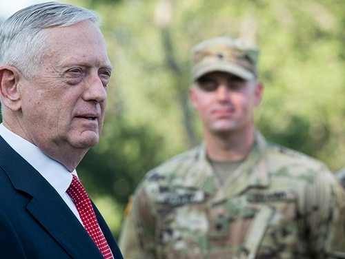 Secretary of Defense Jim Mattis is looking at a potential ban of cell phones and other personal electronic devices in the Pentagon and other Department of Defense buildings. (Tech. Sgt. Brigitte N. Brantley/Air Force)