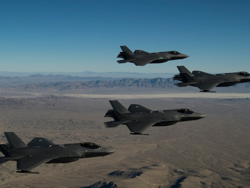 A formation of F-35A Lightning IIs, from the 388th and 419th Fighter Wings, fly over the Utah Test and Training Range as part of a combat power exercise on Nov. 19, 2018. (U.S. Air Force photo by Staff Sgt. Andrew Lee)