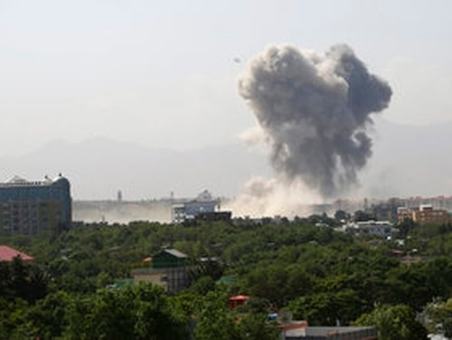 Smokes rises after a huge explosion in Kabul, Afghanistan, Monday, July 1, 2019. Powerful explosion rocks Afghan capital, with smoke seen billowing from downtown area near U.S. Embassy. (Rahmat Gul/AP)