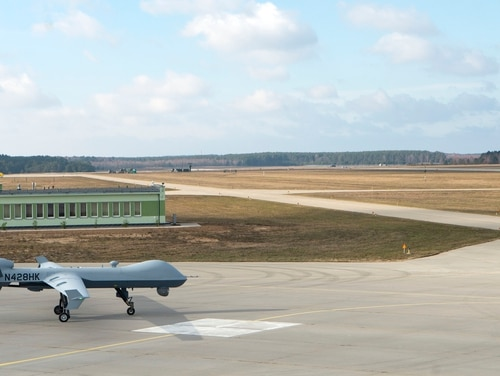 A remotely piloted MQ-9 Reaper taxis toward the runway shortly after a ribbon-cutting ceremony at Miroslawiec Air Base, Poland, March 1. (Senior Airman Preston Cherry/Air Force)