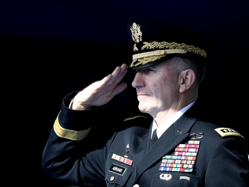 Gen. Robert Abrams salutes during a repatriation ceremony at the Yangsan military base on Nov. 20, 2018, in Seoul, South Korea. (Chung Sung-Jun/Getty Images)