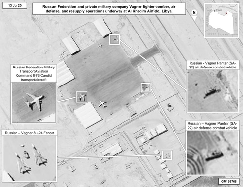 The latest imagery details the extent of equipment being supplied to Russian-backed Wagner Group in Libya. (U.S. Africa Command)