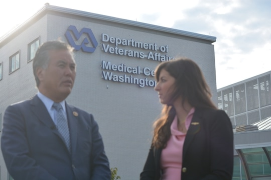 Andrea Goldstein (right), lead staffer on the House Veterans' Affairs Committee's Women Veterans Task Force, speaks with committee Chairman Rep. Mark Takano, D-Calif., (left) ahead of a press conference the Washington DC VA Medical Center on Sept. 26, 2019. Goldstein says she was sexually assaulted at the facility a week earlier. VA officials this week said they would not file any charges in the incident. (Courtesy of the House Veterans' Affairs Committee)