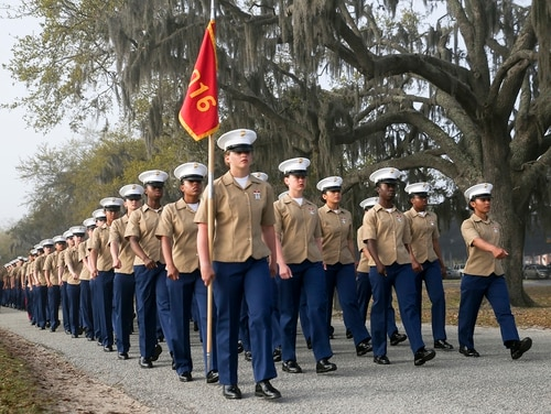 Marines with India Company, 3rd Recruit Training Battalion, graduated from recruit training at Marine Corps Recruit Depot Parris Island, S.C., March 29, 2019. India Company is the first combined company of male and female recruits to graduate from recruit training. (Cpl. Vivien Alstad/Marine Corps)