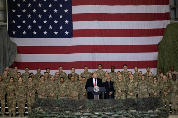 President Donald Trump addresses members of the military during a surprise Thanksgiving Day visit, Thursday, Nov. 28, 2019, at Bagram Air Field, Afghanistan. (Alex Brandon/AP)