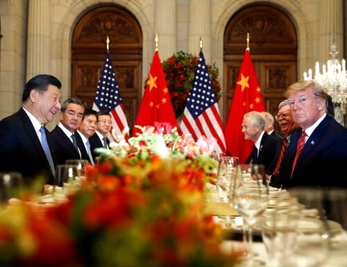 In this Dec. 1,photo, U.S. President Donald Trump, second right, and China's President Xi Jinping, second left, attend their bilateral meeting at the G20 Summit in Buenos Aires, Argentina. A U.S.-Chinese cease-fire on tariffs gives jittery companies a respite but does little to resolve a war over Beijing's technology ambitions that threaten to chill global economic growth. (Pablo Martinez Monsivais/AP)