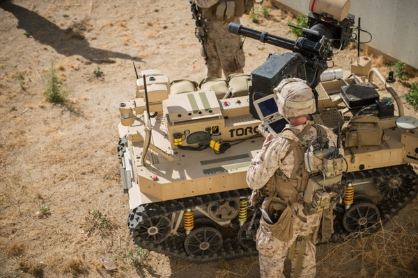 Marines with 3rd Battalion, 5th Marine Regiment prepare a Weaponized Multi-Utility Tactical Transport vehicle for a patrol at Marine Corps Base Camp Pendleton, Calif., July 13, 2016. (Marine Corps)