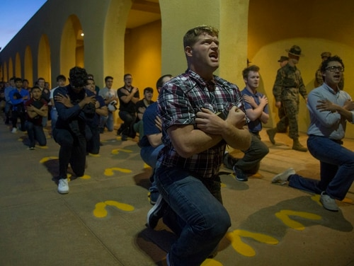 New recruits receive a brief at Marine Corps Recruit Depot San Diego. (Cpl. Brooke C. Woods/Marine Corps)