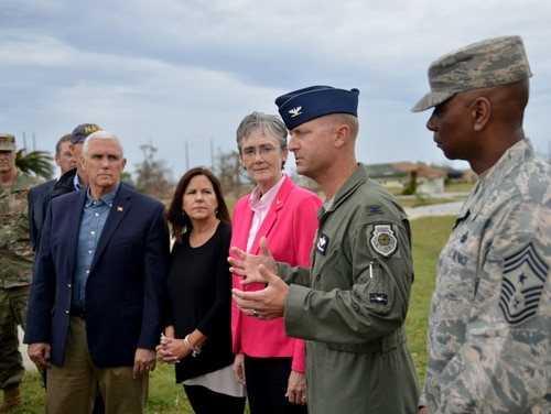 U.S. Air Force Col. Brian Laidlaw, 325th Fighter Wing commander, speaks to media during his visit to Tyndall Air Force Base, Fla., on Oct. 25, 2018. (Staff Sgt. Jeffrey Schultze/U.S. Air Force)