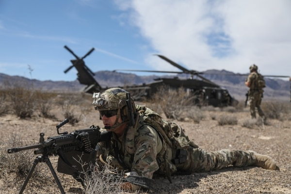 A Special Forces soldier provides security during a downed aircraft scenario during training at the Nevada Test and Training Range near Nellis Air Force Base, Nev. (Sgt. Connor Mendez/Army)