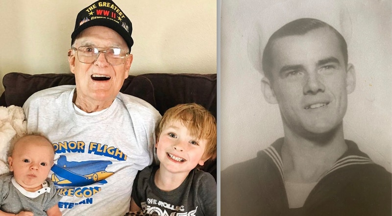 Kelly with his great grandchildren, and as a sailor during WWII. (Photo courtesy of Rose Etherington)