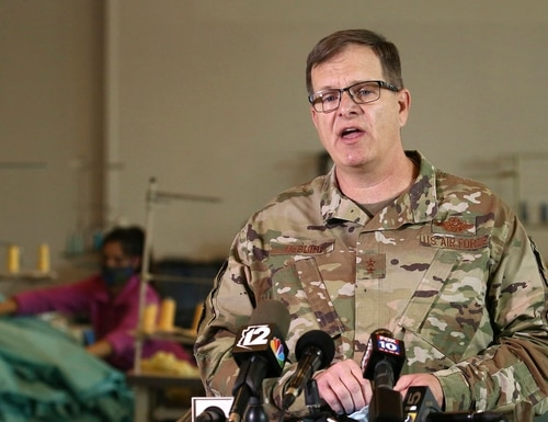 In this April 13, 2020, file photo, Maj. Gen. Michael T. McGuire, adjutant general of the Arizona National Guard, speaks during a news conference in Tempe, Ariz. (Ross D. Franklin/AP)