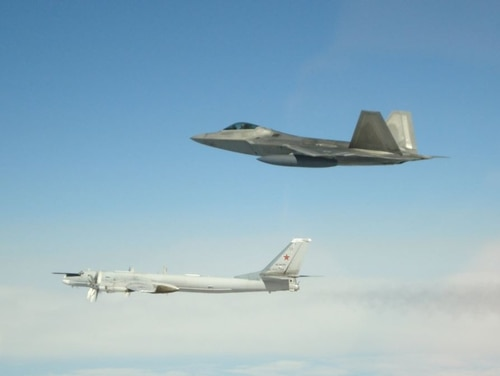 NORAD F-22s intercepted Russian aircraft entering the Alaskan ADIZ on May 20. (NORAD/Twitter)