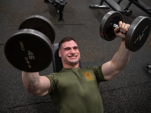 A Marine lifts weights at Marine Corps Air Station Cherry Point, North Carolina, Feb. 19, 2020. (Cpl. Damaris Arias/ Marine Corps)