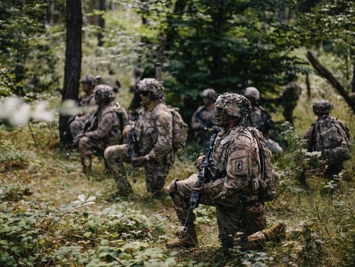 Army paratroopers assigned to 1st Squadron, 91st Cavalry Regiment, 173rd Airborne Brigade set a screen and scan their lanes for enemy movement during a company-level combined arms live-fire exercise in Grafenwoehr Training Area, Germany, in August. (Army)