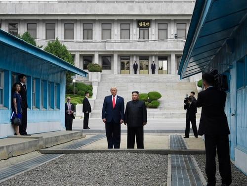 President Donald Trump meets with North Korean leader Kim Jong Un at the border village of Panmunjom in the Demilitarized Zone, South Korea, Sunday, June 30, 2019. (Susan Walsh/AP)