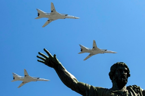 In this May 9, 2016, file photo, Russian Tu-22M-3 long-range bombers fly during the Victory Day military parade in Red Square in Moscow. Russia says it has met the nuclear arsenal limits of a key arms control treaty but has some issues with U.S. compliance. Monday, Feb. 5, 2018 was the deadline to verify compliance by both the United States and Russia with the New START treaty signed in 2010. (Pavel Golovkin/AP)